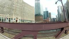 Chicago River - Driving on Bridge POV Stock Footage