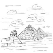 Sphinx and pyramids of egypt Stock Illustration
