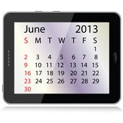 june 2013 calendar - stock illustration