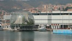 The sphere of Renzo Piano at the port of Genoa Stock Footage