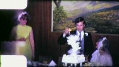 WEDDING TOAST GROOM BRIDE Reception 1970 (Vintage Old Film Home Movie) 4851 Stock Footage