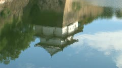 Osaka castle guard house water reflection Stock Footage
