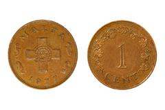 malta monetary unit one cent.isolated. - stock photo