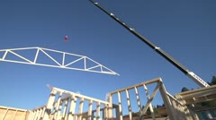 home construction, truss span overhead - stock footage