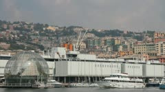 Ferry passing through the port of Genoa - stock footage