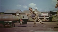 WW2-ColorFootage - B-29 loading bombs Stock Footage