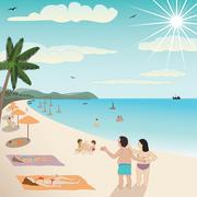 Stock Illustration of summer beach