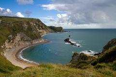 Cove and bay next to Durdle Door Dorset - stock photo