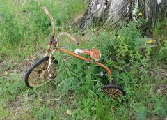 Abandoned tricycle Stock Photos