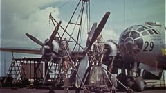 WW2-ColorFootage - Mechanics working on B-29 Engine Stock Footage