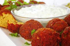 Falafel with tzatziki Stock Photos
