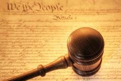 gavel and constitution - stock photo