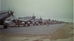 WW2-ColorFootage - P51 group on airfield Stock Footage