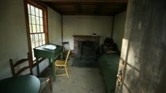 Inside thoreau replica house walden Stock Footage