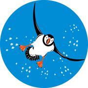 Stock Illustration of atlantic puffin bird flying