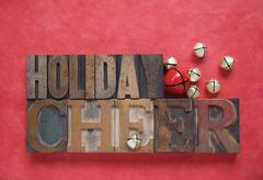 Holiday cheer on red.jpg Stock Photos