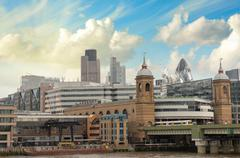 city of london one of the leading centers of global finance and canary wharf  - stock photo