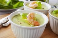 Avocado mousse with prawn Stock Photos