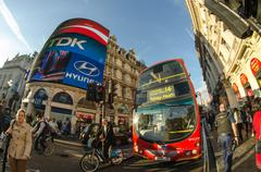london - sep 28:classic routemaster double decker bus speeds up in piccadilly - stock photo