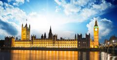 Big ben and house of parliament at river thames international landmark of lon Stock Photos