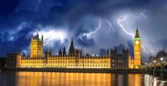 Storm over big ben and house of parliament - london Stock Photos