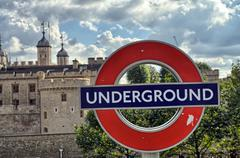 London - sep 27: underground tube station sign in london on september 27, 201 Stock Photos