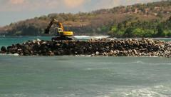 116 Construction site with excavator  on the wild beach in Indonesia Stock Footage