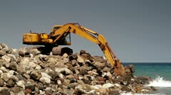 117 Construction site with excavator  on the wild beach in Indonesia Stock Footage