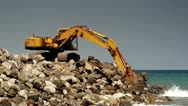 Stock Video Footage of 117 Construction site with excavator  on the wild beach in Indonesia