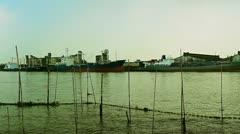 Bangkok river panorama with Bhumibol bridge Stock Footage