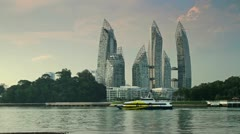 Stock Video Footage of 122 Reflections at Leppel Bay in Singapure, waterfront skyscraper