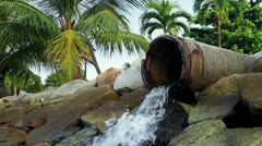 123 Ecological harm from the overflow pipe in Asia - stock footage