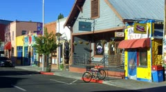 Colorful Small Shops And Businesses On Flagstaff AZ Street Stock Footage