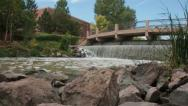 Pueblo, Colorado Riverwalk waterfall Stock Footage