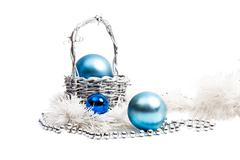 New year composition in blue and silver Stock Photos