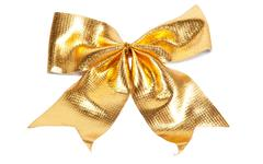 golden christmas bow - stock photo