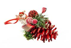 red artificial christmas cone - stock photo