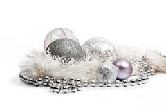silver christmas decorations - stock photo