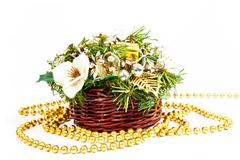 christmas decoration basket - stock photo
