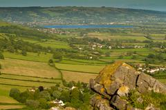 Cheddar Reservoir from Crook Peak in Somerset - stock photo