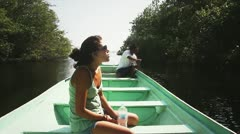 Girl Tourist on Boat Stock Footage