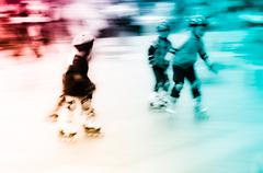Child playing rollerblade Stock Photos