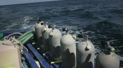 Tanks for Divers on Boat Stock Footage