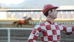 Jockey statue at horse race. Stock Footage