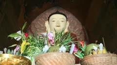 Buddha inside pagoda in Bagan Stock Footage