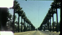 Palm Trees Driving Down Sunset Blvd California 1950 Vintage Film Home Movie 4887 - stock footage