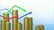 Graphs with coins bars. Looped animation. Alpha mask. HD 1080. Stock Footage