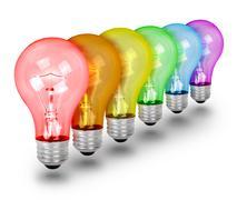 Unique Idea Lightbulbs on White - stock illustration