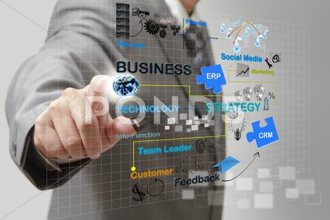 Stock Illustration of businessman point on business process