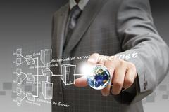 businessman hand points the internet system chart - stock illustration